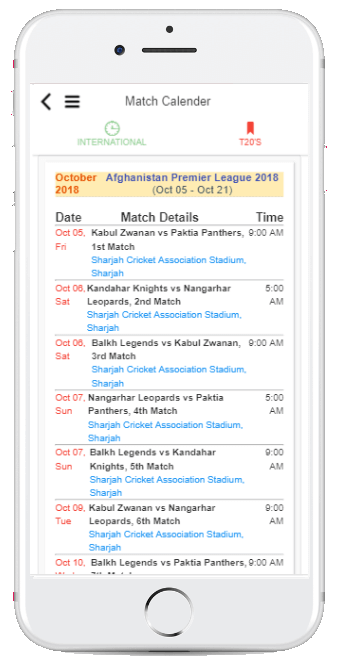 Cricket App Match Calender Screenshot