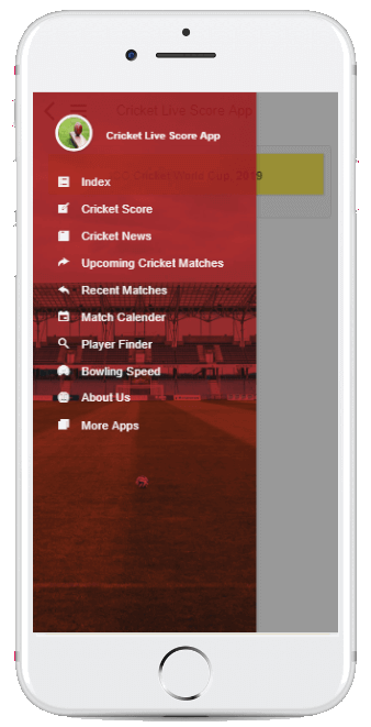 Cricket App Menu List Screenshot